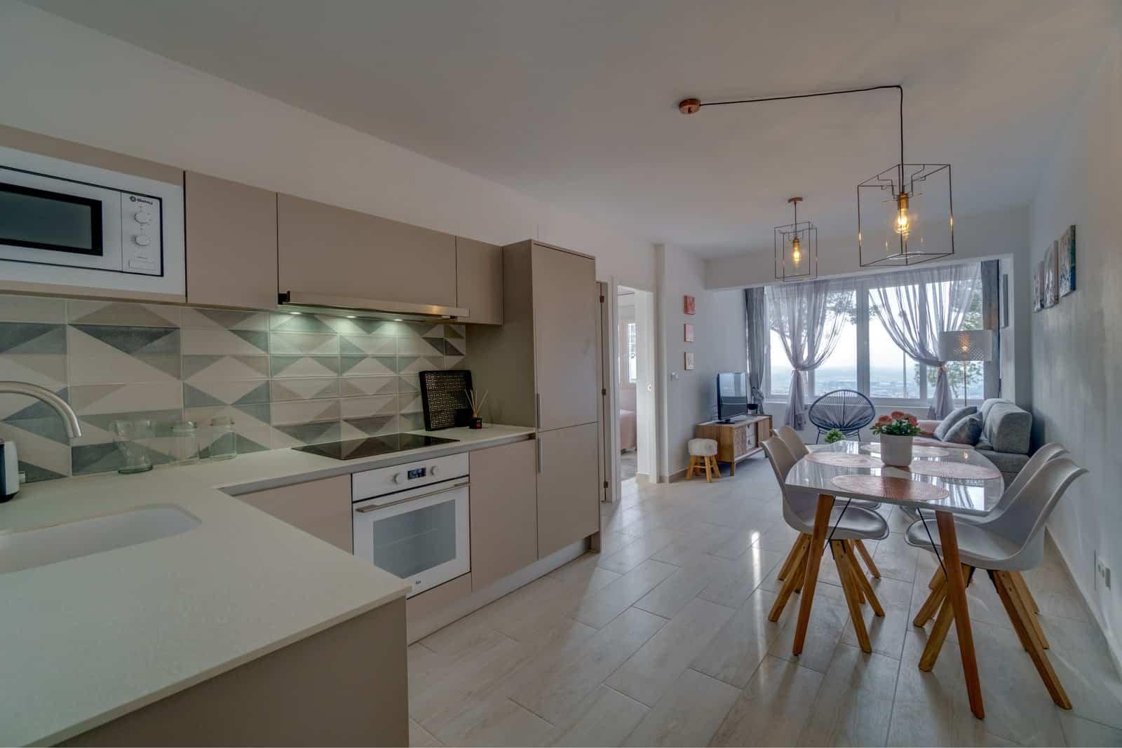 real estate interior photo of open plan kitchen